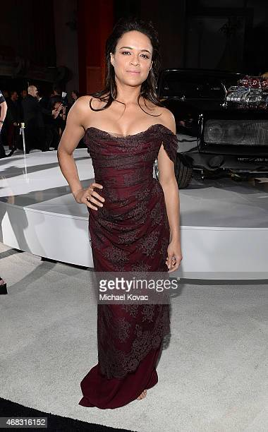 Actress Michelle Rodriguez attends the Furious 7 Los Angeles Premiere Sponsored by Dodge at TCL Chinese 6 Theatres on April 1 2015 in Hollywood...