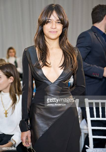 Actress Michelle Rodriguez attends the Gabriela Cadena fashion show during Spring 2016 New York Fashion Week The Shows at The New York Public Library...