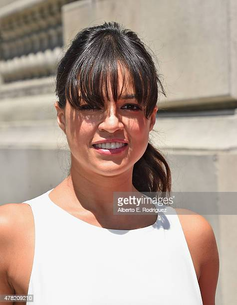 Actress Michelle Rodriguez attends the premiere press event for the new Universal Studios Hollywood Ride Fast FuriousSupercharged at Universal...