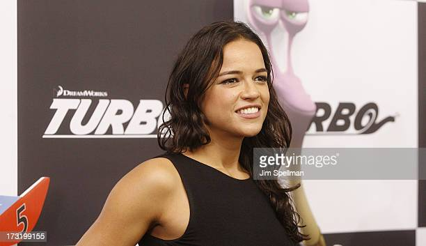 """Actress Michelle Rodriguez attends the """"Turbo"""" New York Premiere at AMC Loews Lincoln Square on July 9, 2013 in New York City."""