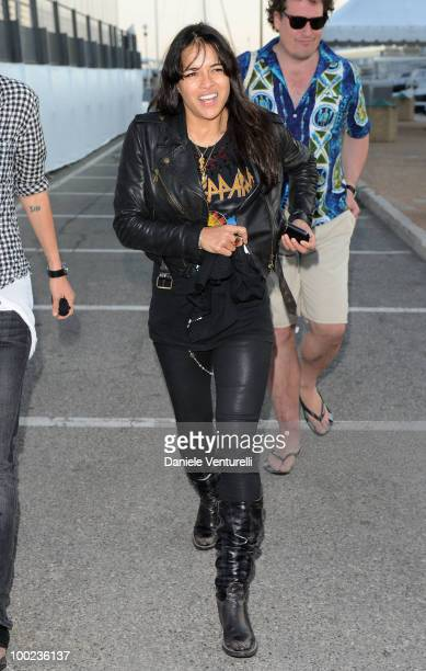Actress Michelle Rodriguez departs for Naomi Campbell's birthday party during the 63rd Annual International Cannes Film Festival on May 22 2010 in...