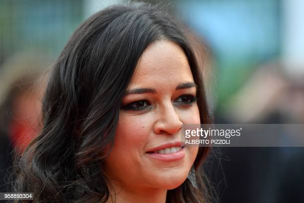 US actress Michelle Rodriguez poses as she arrives on May 15 2018 for the screening of the film 'Solo A Star Wars Story' at the 71st edition of the...