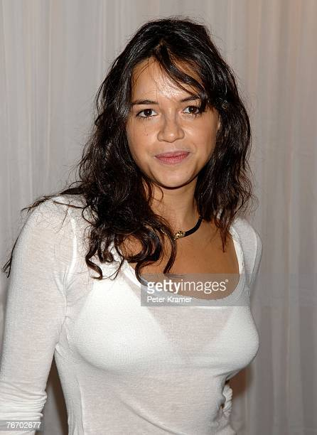 Actress Michelle Rodriguez poses backstage at the Tommy Hilfiger Collection 2008 Fashion Show at the Hammerstein Ballroom during the MercedesBenz...