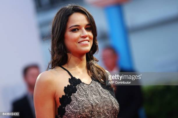 US actress Michelle Rodriguez poses on the red capret before the screening of the movie 'Zookeeper's wife' during the 43rd Deauville US Film Festival...
