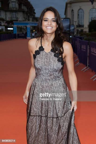 Actress Michelle Rodriguez poses on the red carpet before the screening of the movie 'The Zookeepr's Wife' during the 43rd Deauville American Film...
