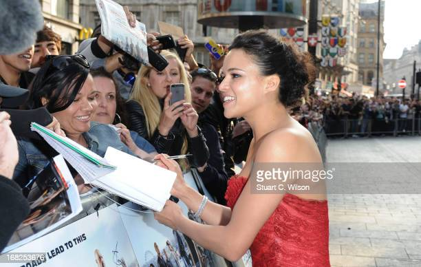 Actress Michelle Rodriquez attends the 'Fast Furious 6' World Premiere at The Empire Leicester Square on May 7 2013 in London England