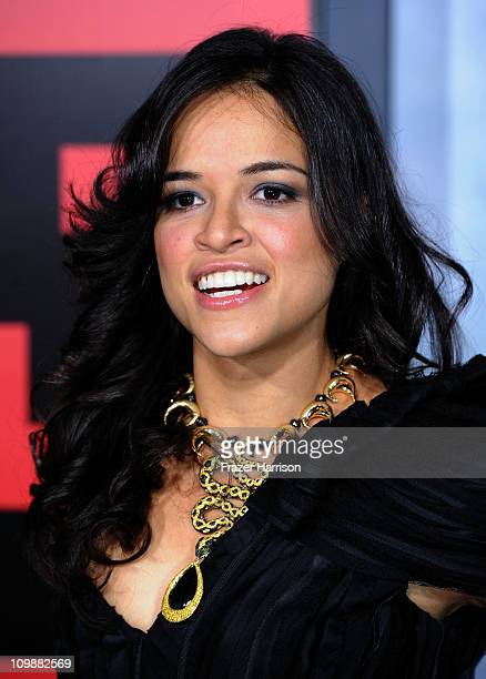 Actress Michelle Roodriguez arrives at the premiere of Columbia Pictures' Battle Los Angeles at the Regency Village Theater on March 8 2011 in...