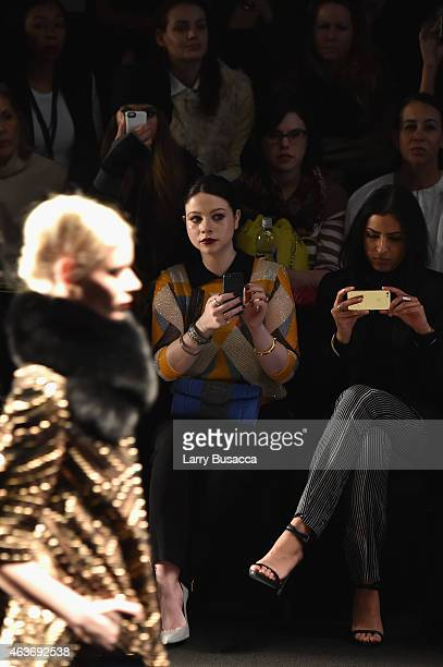 Actress Michelle Trachtenberg attends the Naeem Khan fashion show during MercedesBenz Fashion Week Fall 2015 Theatre at Lincoln Center on February 17...