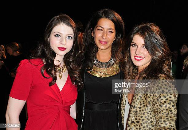 Actress Michelle Trachtenberg designer Rebecca Minkof and actress Shenae Grimes attend the Rebecca Minkoff Spring 2011 presentation during...