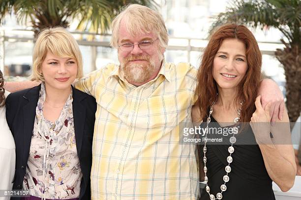 Actress Michelle Williams Actor Philip Seymour Hoffman and Actress Catherine Keener attend the 'Synecdoche New York' Photocall at the Palais des...