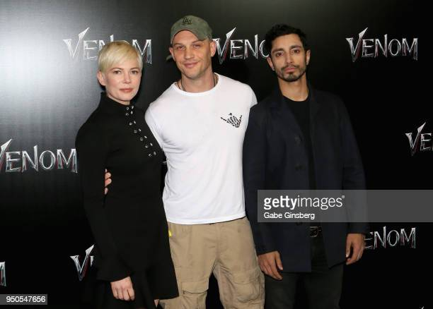 Actress Michelle Williams actors Tom Hardy and Riz Ahmed attend the CinemaCon 2018 Gala Opening Night Event Sony Pictures Highlights its 2018 Summer...