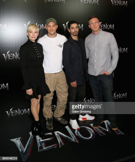 Actress Michelle Williams actors Tom Hardy Riz Ahmed and director Ruben Fleischer attend the CinemaCon 2018 Gala Opening Night Event Sony Pictures...