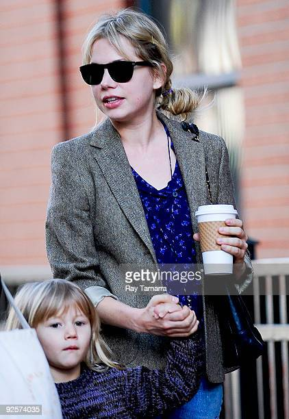 Actress Michelle Williams and daughter Matilda Ledger walk to their Boerum Hill home in the borough of Brooklyn on October 30 2009 in New York City