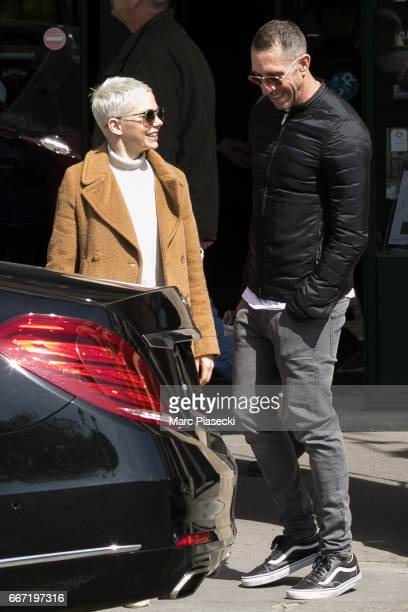 Actress Michelle Williams and hair stylist Chris McMillan are seen leaving the 'Jacquemart Andre' museum on April 11 2017 in Paris France