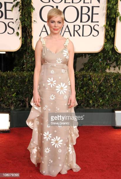 Actress Michelle Williams arrives at the 68th Annual Golden Globe Awards held at The Beverly Hilton hotel on January 16 2011 in Beverly Hills...
