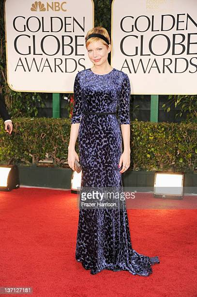 Actress Michelle Williams arrives at the 69th Annual Golden Globe Awards held at the Beverly Hilton Hotel on January 15, 2012 in Beverly Hills,...