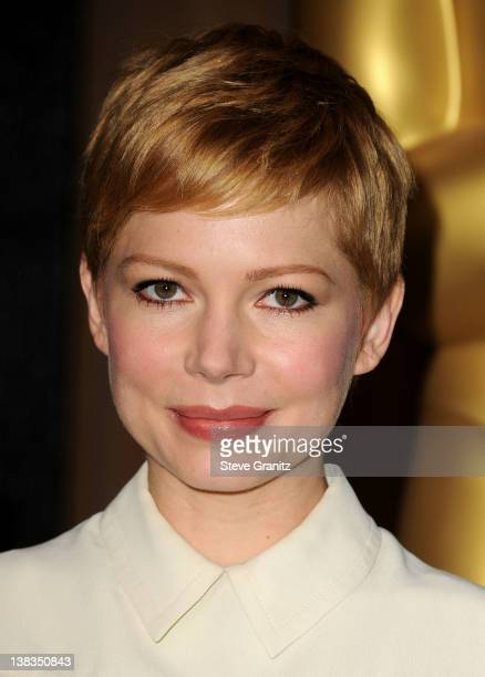 Actress Michelle Williams arrives at the 84th Annual Academy Awards Nominees Luncheon at The Beverly Hilton hotel on February 6 2012 in Beverly Hills...