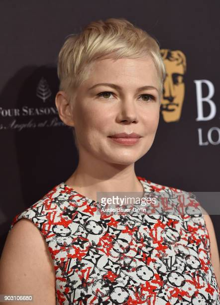 Actress Michelle Williams arrives at The BAFTA Los Angeles Tea Party at Four Seasons Hotel Los Angeles at Beverly Hills on January 6 2018 in Los...