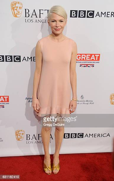 Actress Michelle Williams arrives at The BAFTA Tea Party at Four Seasons Hotel Los Angeles at Beverly Hills on January 7 2017 in Los Angeles...