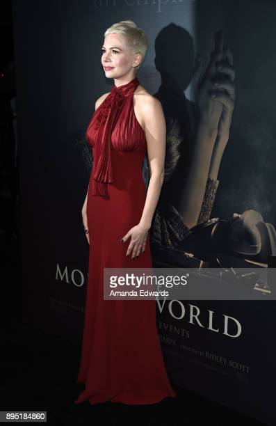 Actress Michelle Williams arrives at the premiere of Sony Pictures Entertainment's 'All The Money In The World' at the Samuel Goldwyn Theater on...