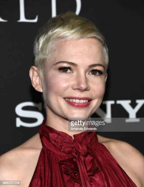 Actress Michelle Williams arrives at the premiere of Sony Pictures Entertainment's All The Money In The World at the Samuel Goldwyn Theater on...