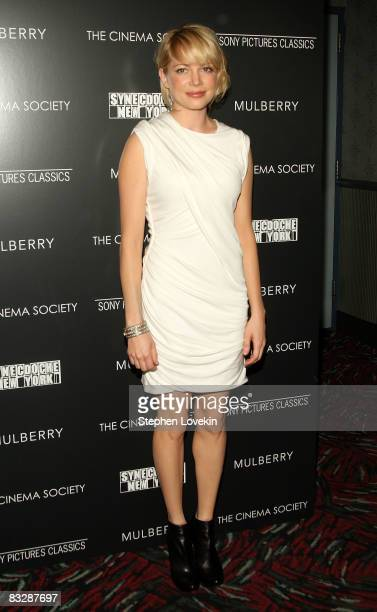 Actress Michelle Williams attends The Cinema Society and Mulberry screening of Synecdoche New York at AMC Loews 19th Street East on October 15 2008...