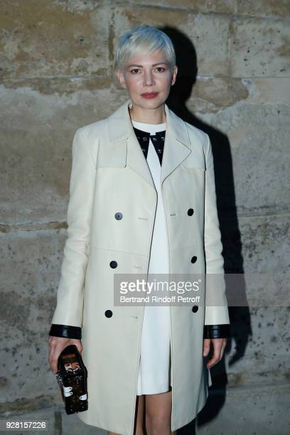 Actress Michelle Williams attends the Louis Vuitton show as part of the Paris Fashion Week Womenswear Fall/Winter 2018/2019 on March 6 2018 in Paris...