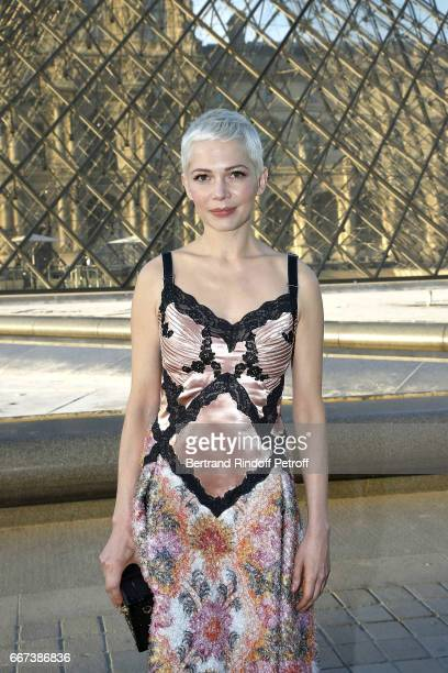Actress Michelle Williams attends the 'LVxKOONS' exhibition at Musee du Louvre on April 11 2017 in Paris France