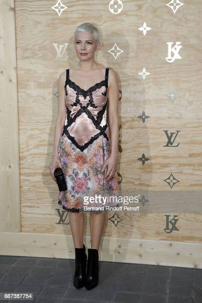 Actress Michelle Williams attends the LVxKOONS exhibition at Musee du Louvre on April 11 2017 in Paris France