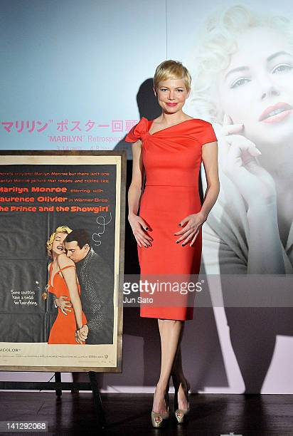 Actress Michelle Williams attends the Marilyn Monroe Retrospective Exhibition at Daikanyama Tsutaya Bookstore on March 14 2012 in Tokyo Japan The...