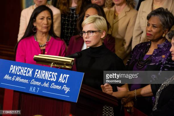 Actress Michelle Williams, center, speaks during a news conference for Equal Pay Day in Washington, D.C., U.S., on Tuesday, April 2, 2019. Women in...