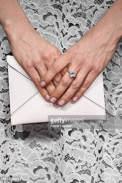 Actress Michelle Williams clutch detail attends the 74th Annual Golden Globe Awards at The Beverly Hilton Hotel on January 8 2017 in Beverly Hills...