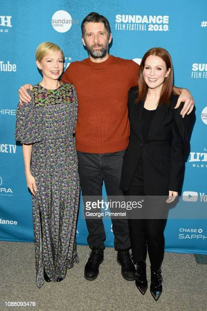 """Actress Michelle Williams, Director Bart Freundlich, and Actress Julianne Moore attend the """"After the Wedding"""" Premiere during the 2019 Sundance Film..."""