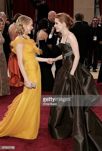 Actress Michelle Williams from 'Brokeback Mountain' and actress Amy Adams arrive at the 78th Annual Academy Awards at the Kodak Theatre on March 5...