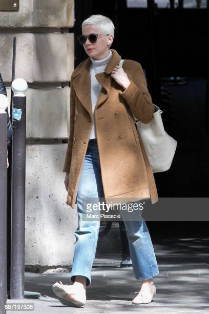 Actress Michelle Williams is seen leaving the 'Jacquemart Andre' museum on April 11 2017 in Paris France