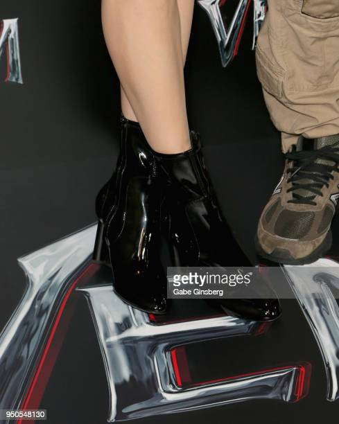 Actress Michelle Williams shoes detail attends the CinemaCon 2018 Gala Opening Night Event Sony Pictures Highlights its 2018 Summer and Beyond Films...