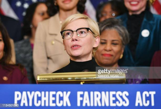 Actress Michelle Williams speaks at an event to celebrate the Paycheck Fairness Act on Equal Pay Day in the Rayburn Room of the US Capitol in...