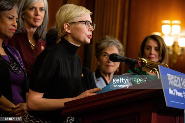 Actress Michelle Williams speaks during a news conference for Equal Pay Day in Washington, D.C., U.S., on Tuesday, April 2, 2019. Women in the U.S....