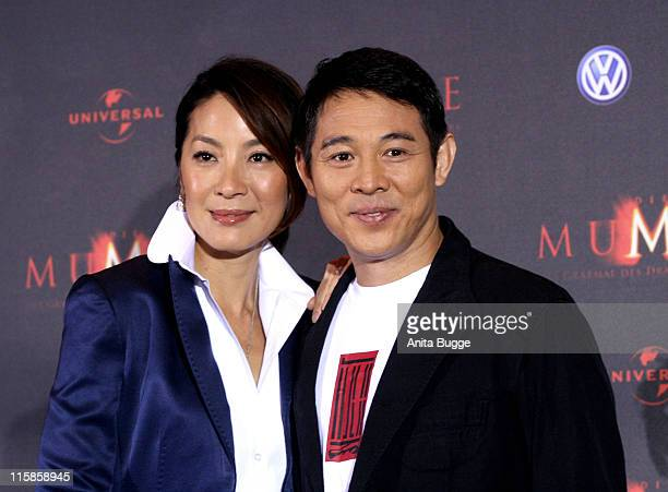 "Actress Michelle Yeoh and actor Jet Li attend the ""The Mummy"" photocall on July 23, 2008 in Berlin, Germany."