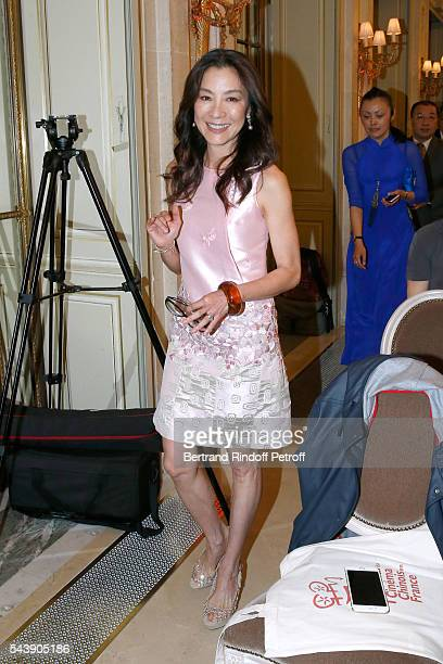 Actress Michelle Yeoh arrives at 6th Chinese Film Festival Press Conference at Hotel Meurice on June 30 2016 in Paris France