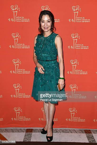 Actress Michelle Yeoh arrives at the 6th Chinese Film Festival Cocktail at Hotel Meurice on June 30 2016 in Paris France