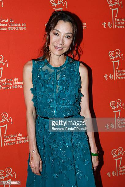 Actress Michelle Yeoh arrives at the 6th Chinese Film Festival Cocktail Arrivals at Hotel Meurice on June 30 2016 in Paris France