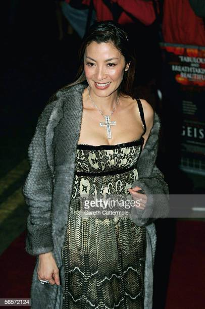 Actress Michelle Yeoh arrives at the UK Premiere of Memoirs Of A Geisha at the Curzon Mayfair on January 11 2006 in London England The Steven...
