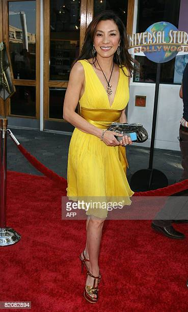 Actress Michelle Yeoh arrives for the premiere of 'The Mummy Tomb of the Dragon Emperor' in Studio City on July 27 2008 AFP PHOTO / VALERIE MACON