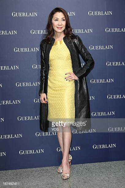 Actress Michelle Yeoh attends a Guerlain promotional event at SpotTaipei on December 3 2012 in Taipei Taiwan