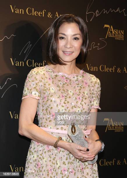 Actress Michelle Yeoh attends the 7th Asian Film Awards cocktail party at Grand Hyatt Hotel on March 17 2013 in Hong Kong Hong Kong