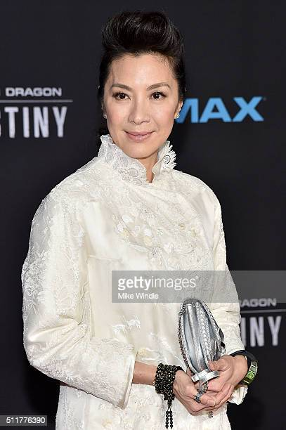 Actress Michelle Yeoh attends the premiere of Netflix's Crouching Tiger Hidden Dragon Sword Of Destiny at AMC Universal City Walk on February 22 2016...