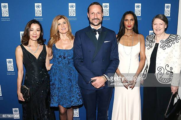 Actress Michelle Yeoh Connie Britton HRH Crown Prince Haakon of Norway Padma Lakshmi and Helen Clark attends the United Nations Development Programme...