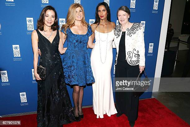 Actress Michelle Yeoh Connie Britton Padma Lakshmi and Helen Clark attends the United Nations Development Programme Inaugural Global Goals Gala at...