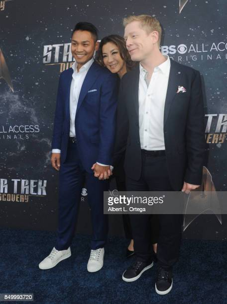 Actress Michelle Yeoh guest and actor Anthony Rapp arrive for the Premiere Of CBS's 'Star Trek Discovery' held at The Cinerama Dome on September 19...